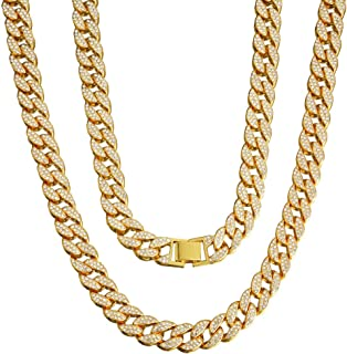Aglare Jewelers USA Mens Iced Out Hip Hop Silver Tone CZ Miami Cuban Link Chain 8