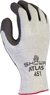 SHOWA Atlas 451M-08 Palm Coating Natural Rubber Glove, 10-Gauge Insulated Seamless Knitted Liner, General Purpose Work, Medium (Pack of 12 Pairs),Gray