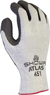 SHOWA Atlas 451M-08 Palm Coating Natural Rubber Glove, 10-Gauge Insulated Seamless Knitted Liner, General Purpose Work, Medium (Pack of 12 Pairs)