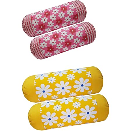 HSR Collection Premium 100% Cotton Printed 4 Piece Bolster Cover (Not Bolster) (16 X 32 Inches) ( Pink & Yellow )
