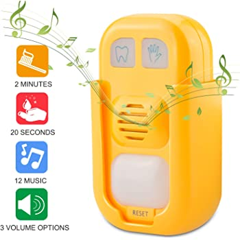 HONGUT Musical Timer for Kids Battery Powered 2 Minute Toothbrush Timer and 20 Seconds Bathroom Hand Wash Timer with LED Color Light, 3 Volume Options Musical Timer for Children Training Coach