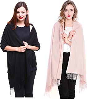 REEMONDE Large Extra Soft Cashmere Blend Women Pashmina Shawl Wrap Stole Scarf (2 Pack - Black & Light pink)
