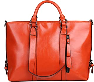 Shoulder Bag Women's Vintage Genuine Leather Tote Shoulder Bag Handbag Handbag Clutch (Color : Orange)
