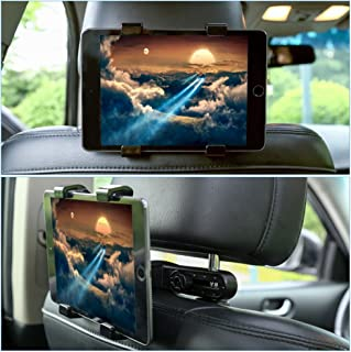 GHB Tablet Holder Car Headrest Holder Car Headrest Mount 360°Rotation Cradle Bracket Compatible with iPad Samsung Kindle and Others 7-10 Inches Tablet Black