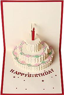 Tarjeta de felicitación de cumpleaños con diseño de tarta en 3D para hombres y mujeres, regalo de cumpleaños para niñas