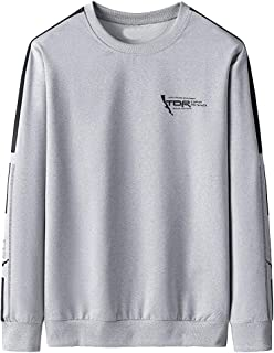 TTOOHHH Men's Autumn Winter Simple Printed Long Sleeve Sweatshirt Tops Pullover T-Shirt