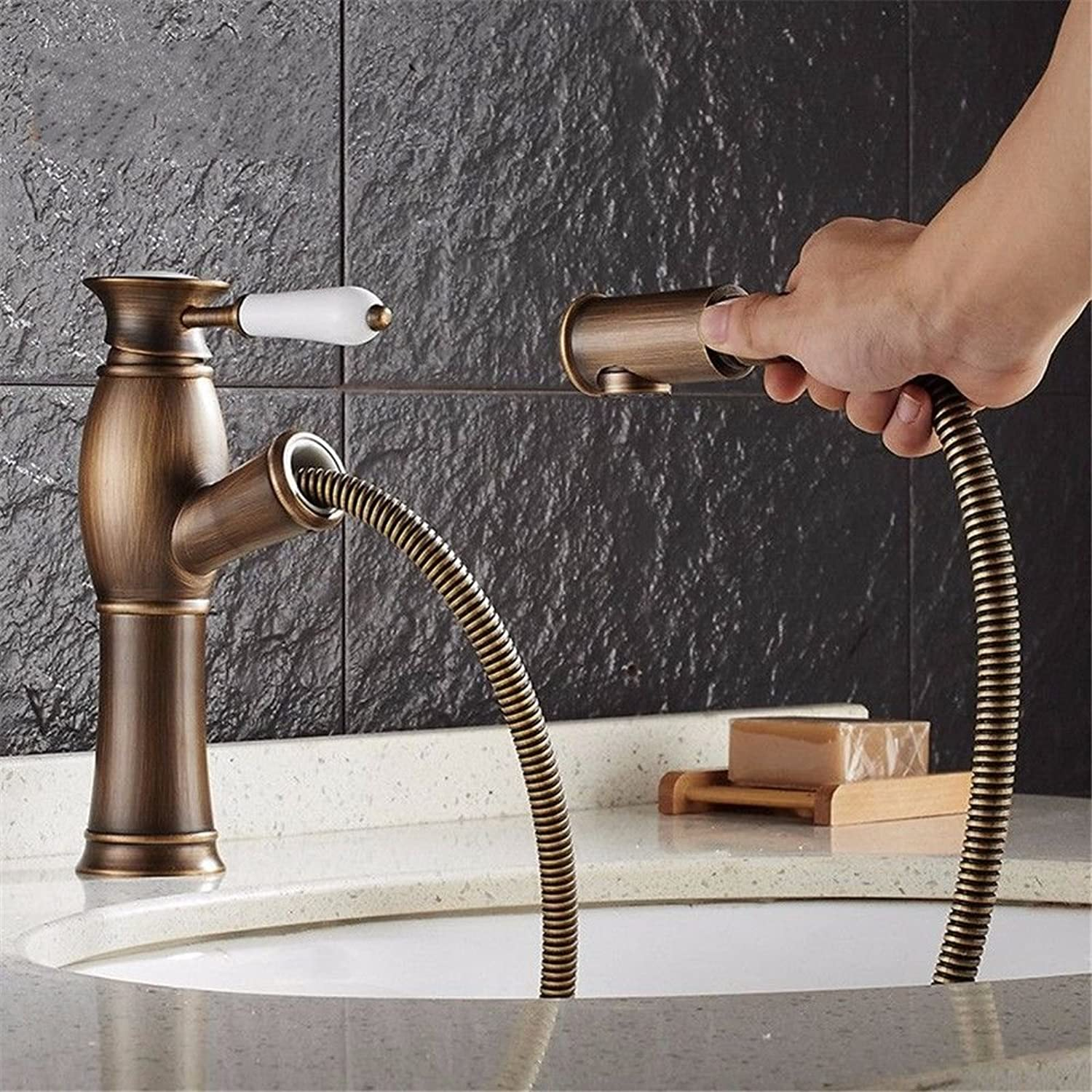 Lpophy Bathroom Sink Mixer Taps Faucet Bath Waterfall Cold and Hot Water Tap for Washroom Bathroom and Kitchen Hot and Cold Antique Pull Ceramic Handle