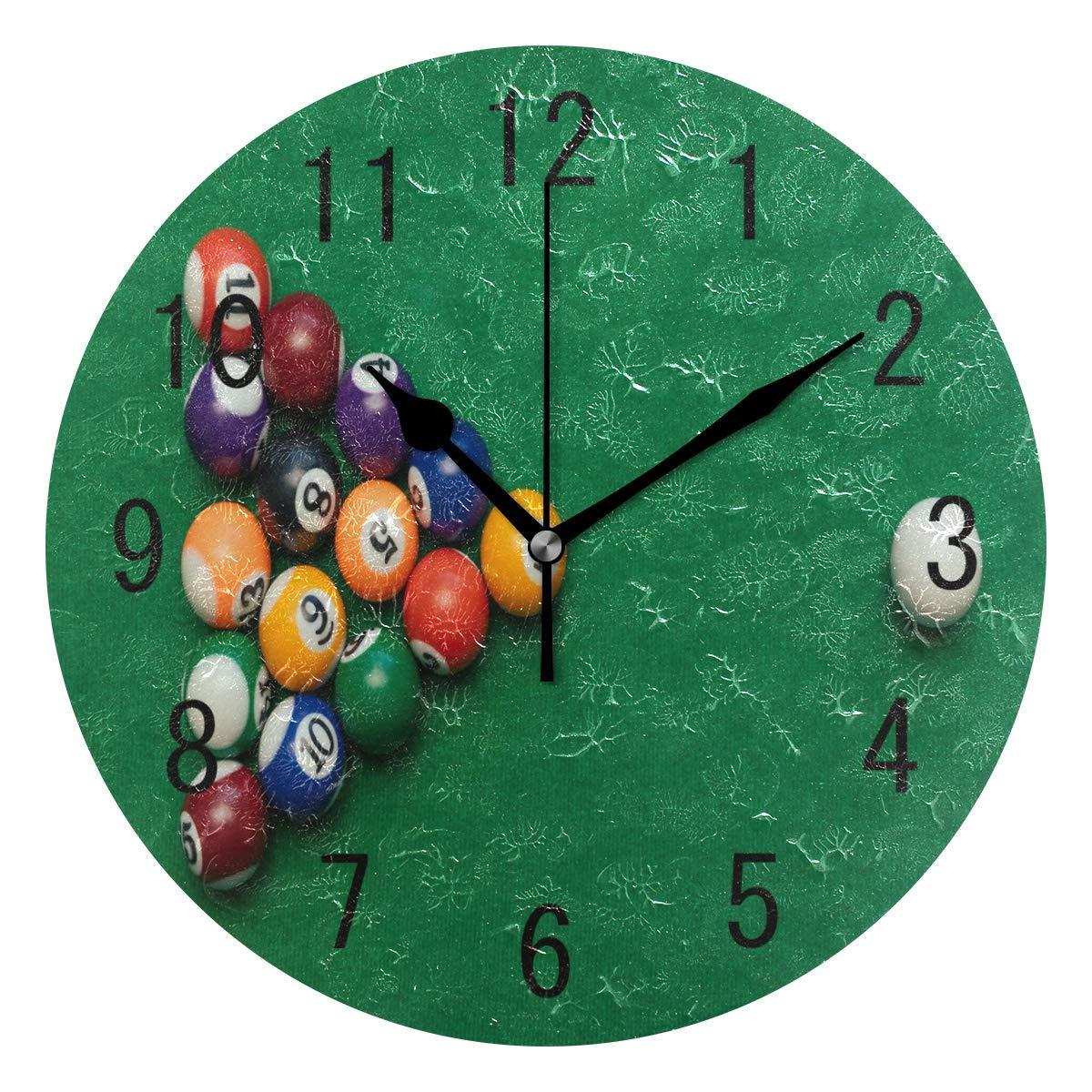 LZXO - Reloj de Pared con Bolas de Billar Coloridas y silenciosas, Reloj Redondo de 9.84 Pulgadas, Funciona con Pilas, Decorativo, para Cocina, Sala de Estar, Dormitorio, Oficina: Amazon.es: Hogar