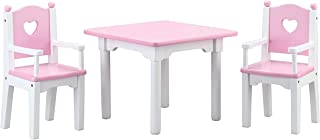 Beverly Hills Doll Table and Chairs, Wooden Furniture Accessories Set Fits 18 Inch American Girl Doll. Made with Extra Durable Solid Wood