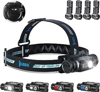 WUBEN H1 Hoofdlamp, 1200 lumen, led, meerdere lichtbronnen, hoofdlamp, USB-oplaadbaar, IP68 waterdicht, reflecterende stri...
