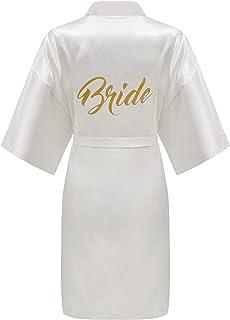 ALHAVONE Women's One Size Glittering Bride Bridesmaid Silky Short Kimono Robe Solid Color for Wedding Getting Ready