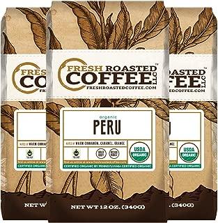 Fresh Roasted Coffee LLC, Organic Peruvian Sol y Café Coffee, Medium Roast, Fair Trade, USDA Organic, Ground Coffee, 12 Ounce Bags, 3 Pack