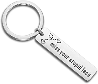 MAOFAED Long Distance Relationship Gift I Miss Your Stupid Face Keychain Gift for Best Friend Boyfriend