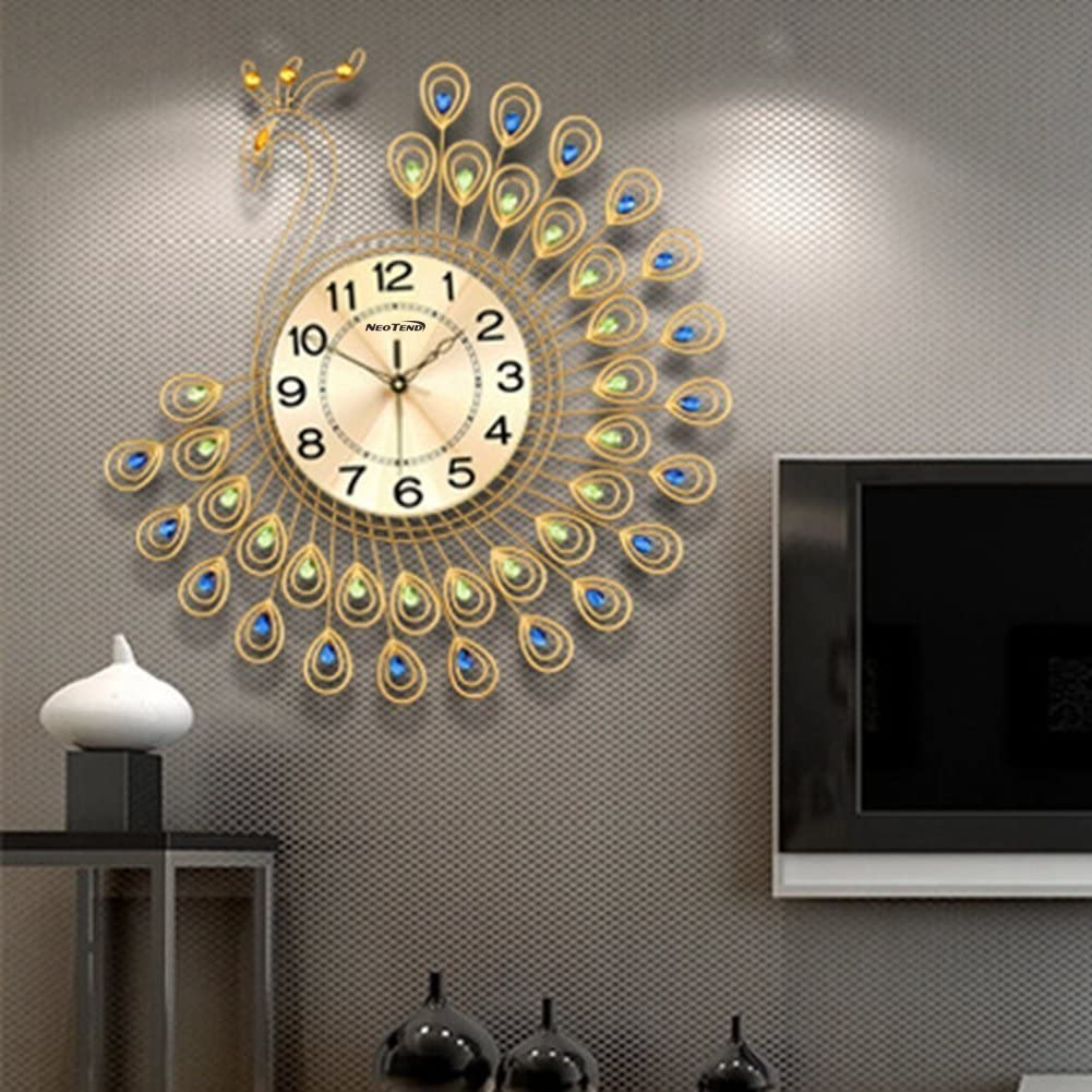 NEOTEND Large Decorative Wall Clock C Peacock Silent safety Modern Cheap mail order shopping