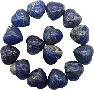 """favoramulet Natural Lapis Lazuli Carved Mini Puffy Stone Heart of Love, Undrilled Polished Palm Pocket Stones Healing Crystal, 0.5"""", Pack of 10"""