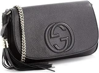 Soho Leather Flap Shoulder Bag Black Gold Tassel New Authentic