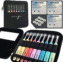 Crochet Kit, 9 Crochet Light Hooks, Lighted Crochet Needles Set, Led Crochet Hook Set W/Ergonomic Handle, Crochet Hook Case and 9 Batteries! 9 Knitting Needles, 2.5mm to 6.5mm (Black w/ 9 Batteries)