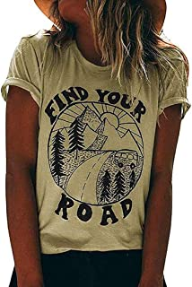 MAOGUYUN Women's Find Your Road Funny Round Neck T Shirt Letters Graphic Casual Short Sleeve Tops Tees Blouses