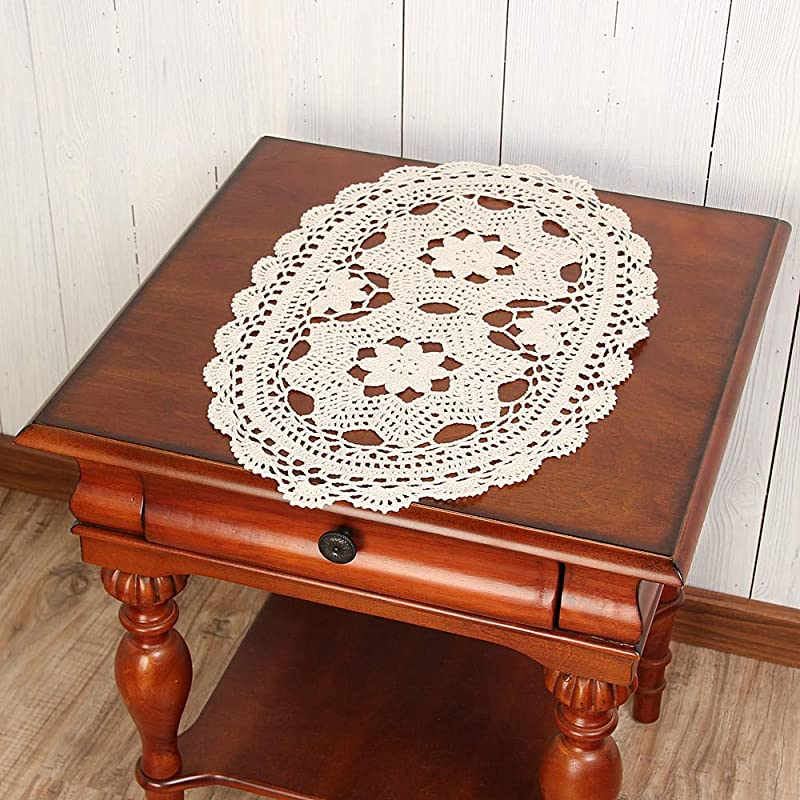 Vanyear Crochet Doily Tablecloths Crochet Square Table Cover Lace Table Covering Doilies For Furniture D Cor 11 8inch By 19 6inch Oval Table Doilies