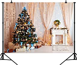 CapiSco 7X5FT Christmas Backdrop Vinyl Background for Baby Child Family Chirstmas Party Indoor Beautiful Pink Curtain Fireplace and Christmas Tree Photo Backdrop SCO120A