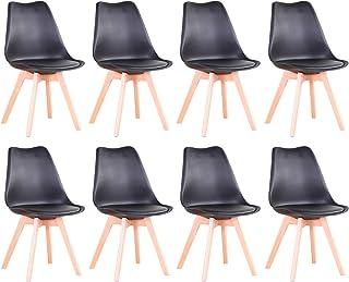 BenyLed Lot de 8 Chaises de Salle à Manger Modernes avec Assise Rembourrée et Pieds en Bois de Hêtre idéal pour Salle à Ma...