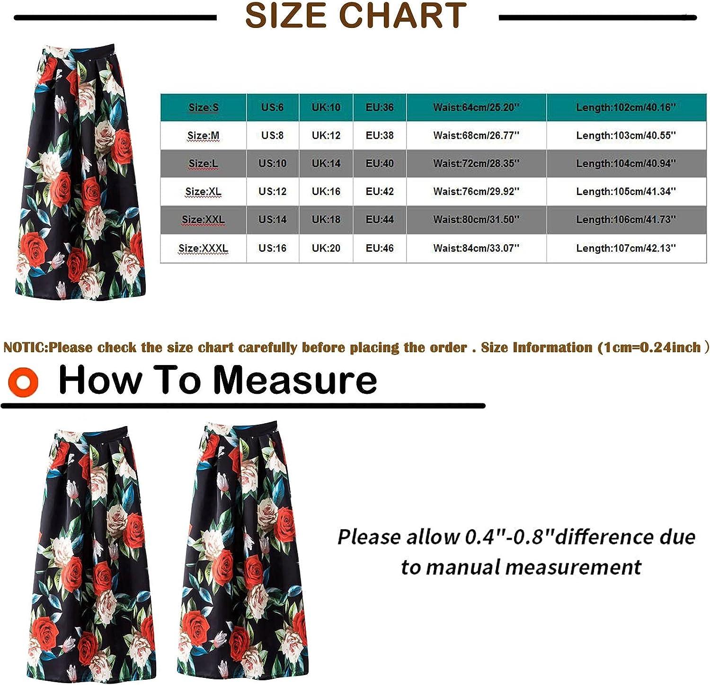 Women's Boho Summer Skirt Maxi Skirt Pleated Retro Long Pleated Slim High Waist Half Skirt