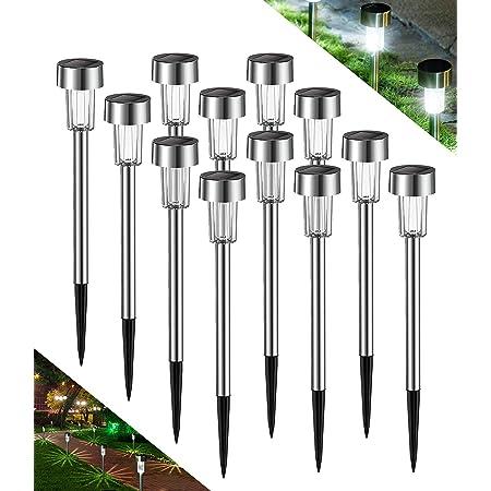 Avoalre Lot de 12 Lampes Solaires Exterieurs Lampe Solaire Jardin Etanche IP44 Lampe LED Exterieur Automatique Rechargeable Décoration Eclairage Solaire Extérieur pour Chemins Pelouse Terrasse-Blanc