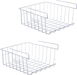 ASTOTSELL Under Shelf Storage Basket, 2-Pack Under Shelf Hanging Metal Wire Storage Basket Organizer for Kitchen, Office, ...