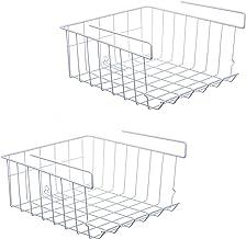 ASTOTSELL Kosz do przechowywania, 2-pak pod półką wiszący metalowy drut kosz do przechowywania do szafki kuchennej, biura,...