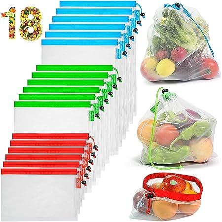 3size XREXS 7 Pezzi Sacchetti di Verdure in 100/% Cotone Borsa Spesa Borse per Ortofrutta con Coulisse per la Spesa di Alimentari Senza plastica Sacchetti Rete Frutta Riutilizzabili Borsa