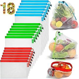 longzon Sac reutilisable Fruit Legume, 【18P】 Rangement frigo pochon Tissu Congelation Filet a Vrac de Course Alimentaire F...