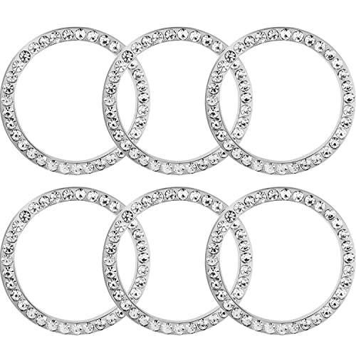 TOODOO 6 Pieces Crystal Rhinestone Car Bling Decorations Ring Emblem Sticker Decor Car Engine Start Stop