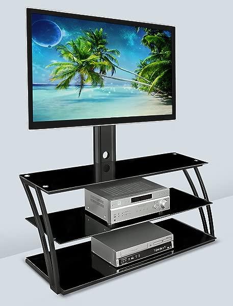 安装 It 电视架,配有支架和储物架娱乐中心适合 32 至 60 英寸屏幕 VESA 100x100 至 600x400 玻璃搁板 88 磅黑色 MI 864