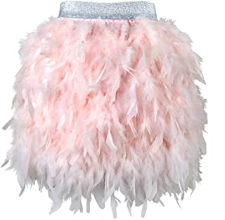 L'VOW Women's Sexy Mid Waist Mini A-line Feather Skirt for Party Wedding Halloween