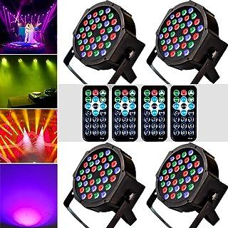 1KOOT LED Par Disco Licht RGB 36LEDS Bühne Blitzlicht Party DJ Lichter Tonaktivierung DMX und Fernbedienung Blitzleuchten Beste für Parteien (4 Stück)