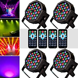 KOOT Stage Par Lights DJ Disco Lighting 36 LEDS, Sound Activated Strobe Lights with Magic RGB Effect by Remote and DMX Control for Karaoke Club Bar Wedding Show (4 Pack)