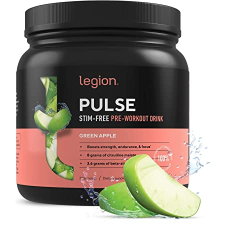 Legion Pulse, Best Natural Pre Workout Supplement for Women and Men – Powerful Nitric Oxide Pre Workout, Effective Pre Workout for Weight Loss. (Caffeine Free Green Apple)