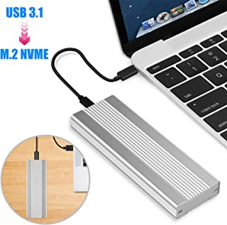 EEEKit Type C to M.2 Enclosure Aluminum Case, USB 3.1 Portable Aluminum Case for Win XP/Vista/Win7/Win8/WIN10 32 bit/64bit, Black/Silver Silver
