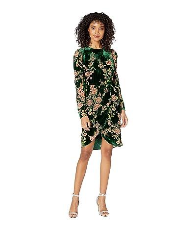 J.O.A. Burnout Velvet Wrap Dress (Emerald Floral) Women