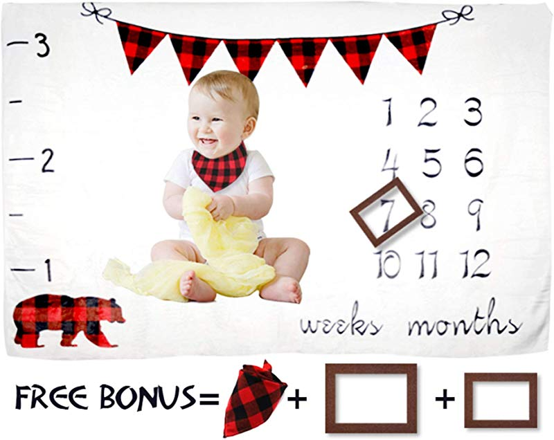 Bear Baby Milestone Blanket Boy Girl Large 60 X40 Fleece Weekly Monthly Milestone Blanket Photography Props Baby Shower Newborn New Moms Gift 2 Frames 1 Bib Included