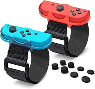 YICHUMY 2 Packs Adjastable Wrist Bands Wrist Strap for Nintendo Switch Joy Con Controller Just Dance 2019 /Switch Kinetic Game - Blue and Red with 8X Thumbsticks