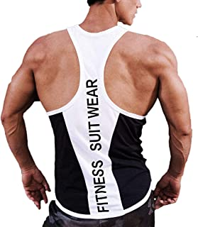 ICOOLTECH Men's Fitness Gym Muscle Cut Stringer Bodybuilding Workout Sleeveless Tank Top Shirts