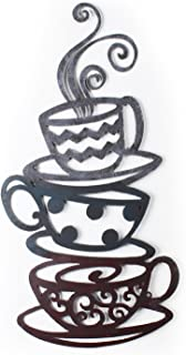 Adeco Decorative Iron Wall Hanging Accents, Three Stacked Coffee Tea Cups Decor Widget - 23.7x12.2 Inches