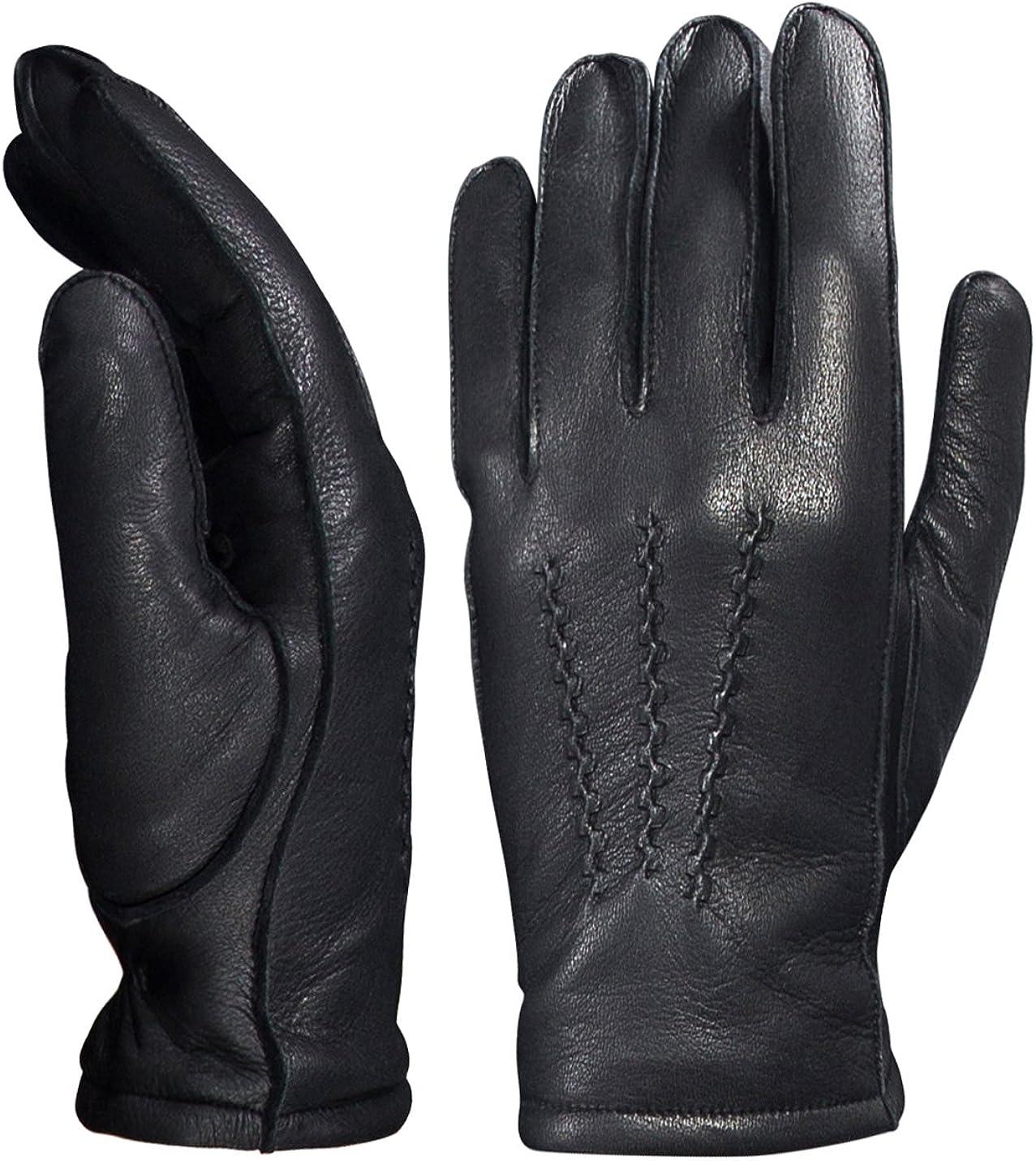 YISEVEN Men's Deerskin Leather Dress Se Fleece Be super welcome Lined Max 82% OFF Gloves Hand