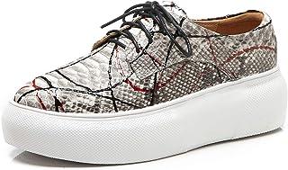 [チカル] レディース スニーカー レースアップ カジュアルシューズ 厚底 プラットフォーム 編み上げ 厚底スニーカー 靴 くつ シューズ かわいい 手造り ぺたんこ靴 フラット シューズ レザー 牛革 本革 歩きやすい