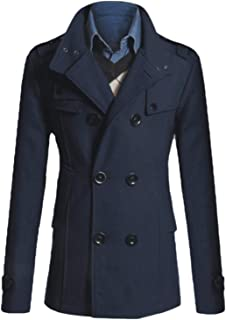 Howely Men Double Breasted Fall Winter Thicken Turn-Down Collar Worsted Coat