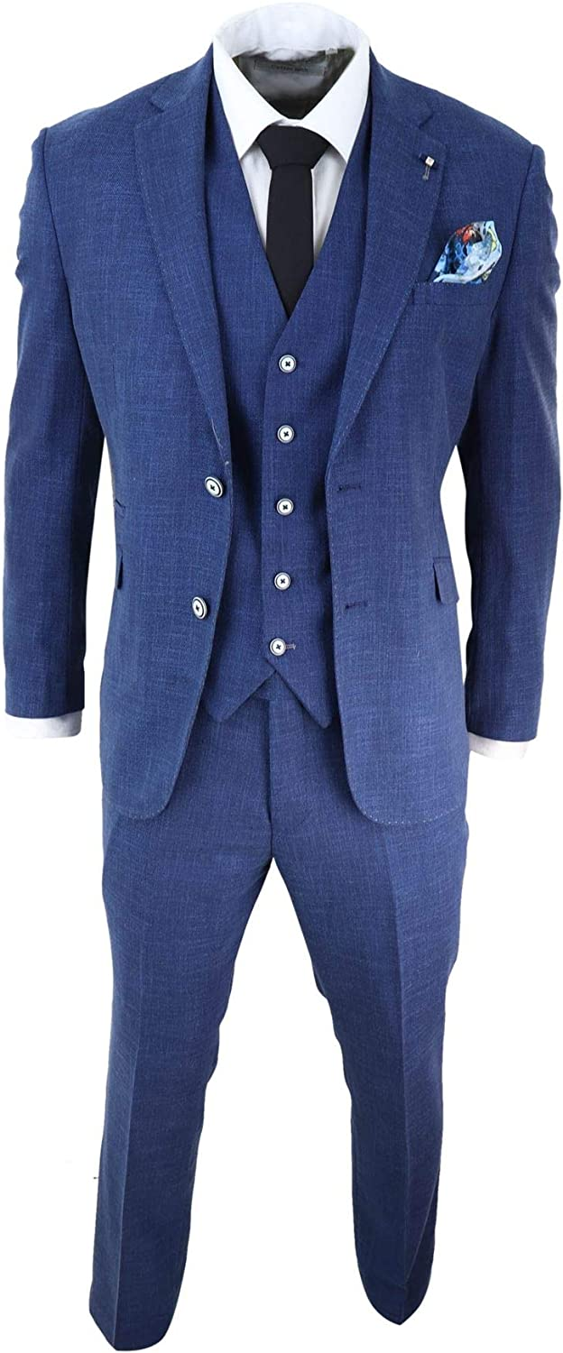 Mens 3 Piece Suit Blue Summer Linen Tailored Fit Wedding Prom Classic
