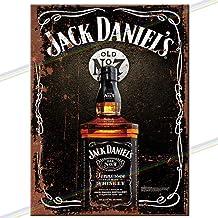 JDMS8  Jack Daniel/'s Bottle /& Glass Metal Sign New 30 cm H X 20 cm W