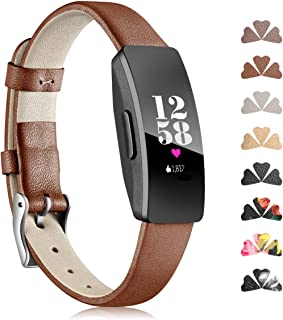 Maledan Band Compatible with Fitbit Inspire HR and Inspire Bands and Ace 2,  Classic Genuine Leather Wristband with Metal Connectors Soft Replacement Accessories Strap for Women Men,  Small Large