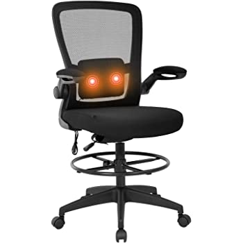 Drafting Chair Tall Office Chair Adjustable Height with Lumbar Support Flip Up Arms Footrest Task Mesh Desk Chair Massage Computer Chair Drafting Stool for Standing Desk(Black)